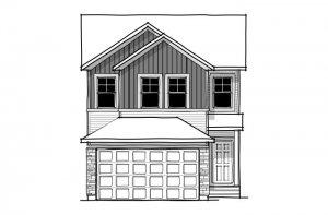 EVO 1 - Farmhouse C3 Elevation - 2,014 sqft, 3 Bedroom, 2.5 Bathroom - Cardel Homes Calgary