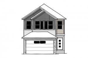 EVO 1 - Urban Farmhouse A3 Elevation - 2,014 sqft, 3 Bedroom, 2.5 Bathroom - Cardel Homes Calgary