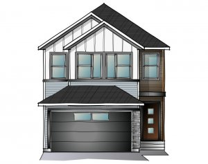 EVO 1 - Urban Farmhouse F2 Elevation - 2,014 sqft, 3 Bedroom, 2.5 Bathroom - Cardel Homes Calgary