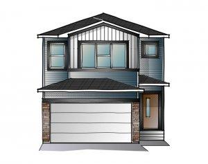 EVO 2 - Urban Craftsman F1 Elevation - 1,819 sqft, 3 Bedroom, 2.5 Bathroom - Cardel Homes Calgary