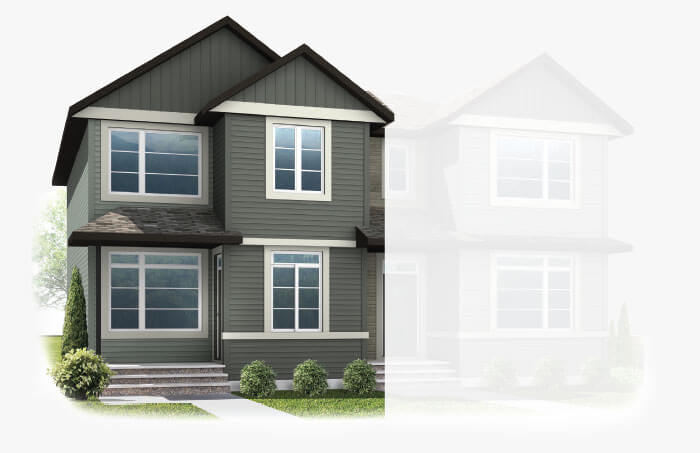New Calgary Paired Home Quick Possession Indigo 1 in Savanna, located at 9108 52 Street NE Built By Cardel Homes Calgary