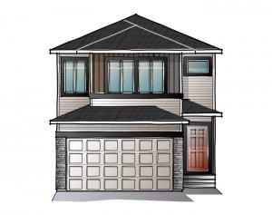 EVO 2 - PRAIRIE C2 Elevation - 1,819 sqft, 3 Bedroom, 2.5 Bathroom - Cardel Homes Calgary