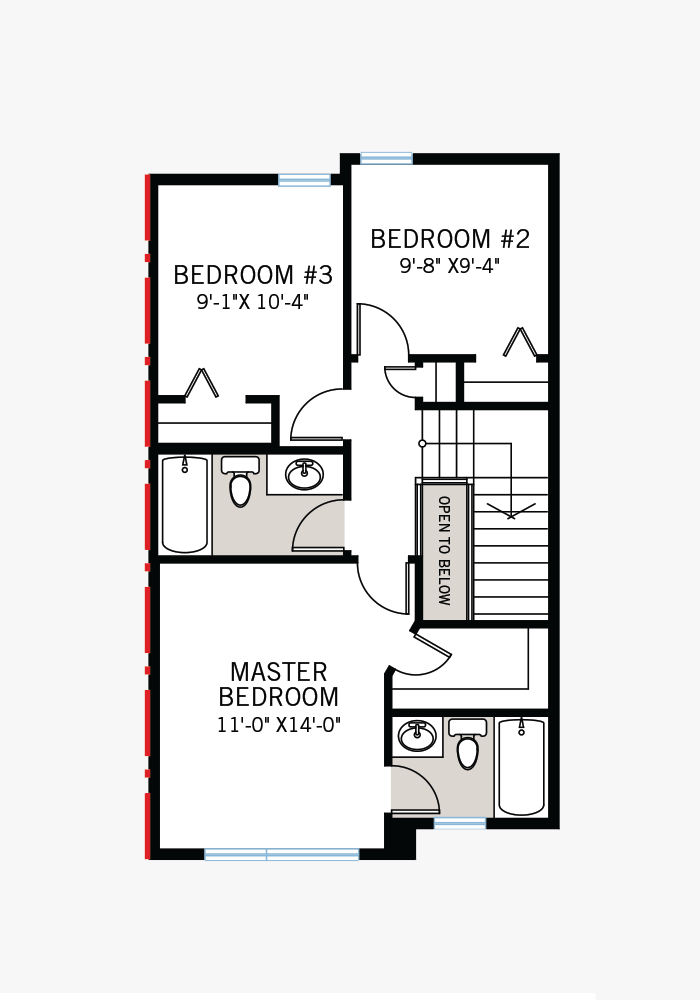 The Soho 4X home upper floor quick possession in Savanna, located at 9132 52 Street, NE Calgary Built By Cardel Homes