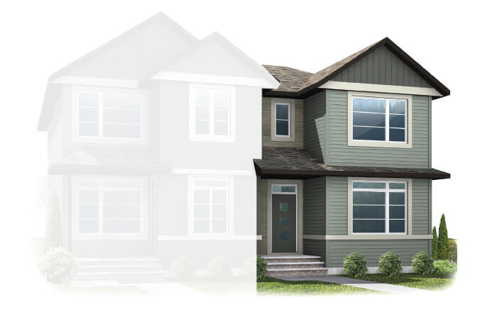 New Calgary Paired Home Quick Possession Indigo 2 in Savanna, located at 9104 52 Street, NE Built By Cardel Homes