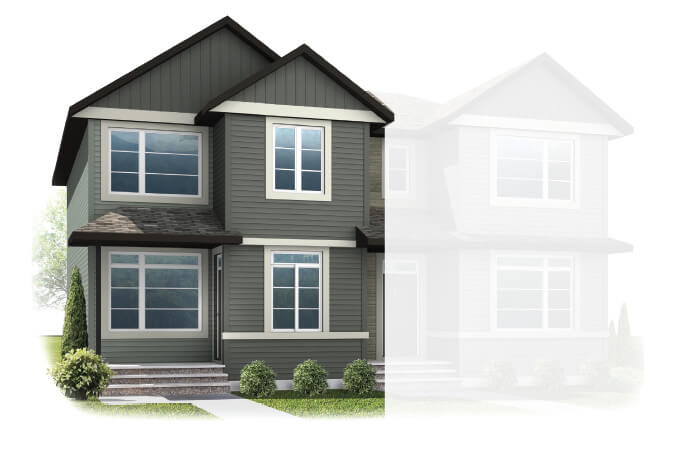 New Calgary Paired Home Quick Possession Indigo 1 in Savanna, located at 9108 52 Street NE Built By Cardel Homes