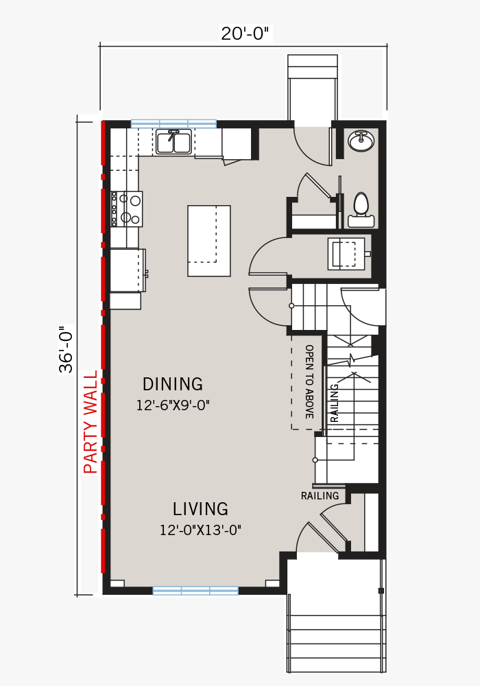 The Soho 4 home main floor quick possession in Savanna, located at 9060 52 Street NE Calgary Built By Cardel Homes