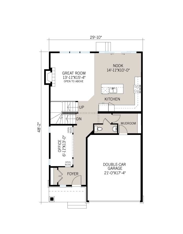 The Devonshire 2 home main floor quick possession in Creekside, located at 760 Kirkham Crescent, Richmond Ottawa Built By Cardel Homes