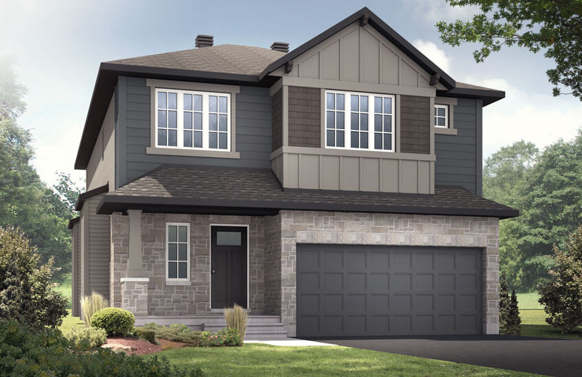 New Ottawa Single Family Home Quick Possession Devonshire 2 in Creekside, located at 760 Kirkham Crescent, Richmond Built By Cardel Homes