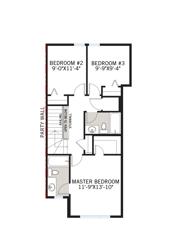 The Iris 2 home upper floor quick possession in Walden, located at 45 WALCREST GATE SE Calgary Built By Cardel Homes