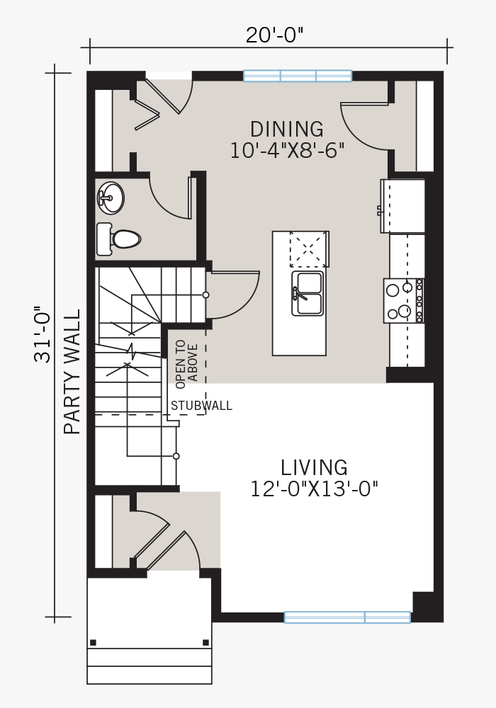 The Soho 1 home main floor quick possession in Walden, located at 21 WALCREST GATE SE Calgary Built By Cardel Homes