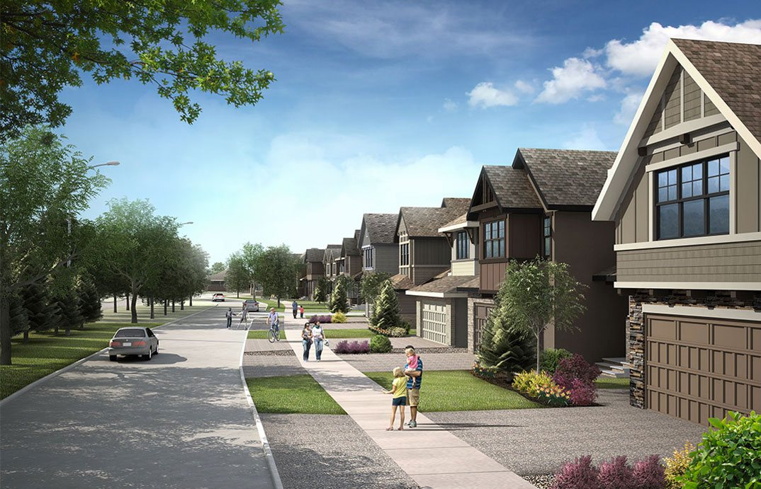 Rendering showing street with wide tree lined boulevards in south west Shawnee Park in Calgary.