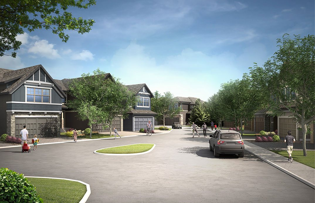Rendering of Calgary south west Shawnee Park with streetscape and family activities.