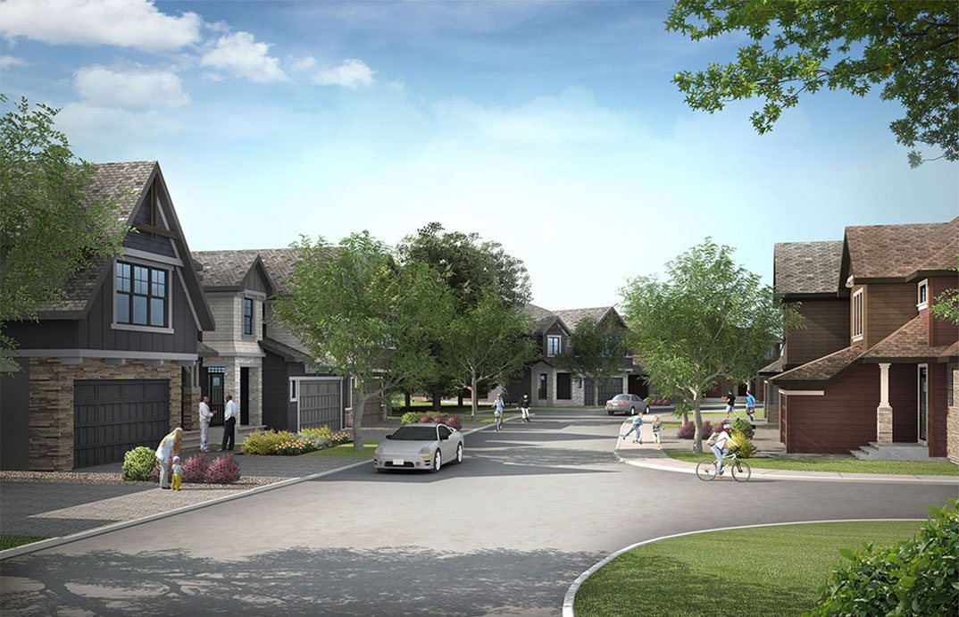 Rendering of lush street landscape featured prodominently in Calgary south west Shawnee Park