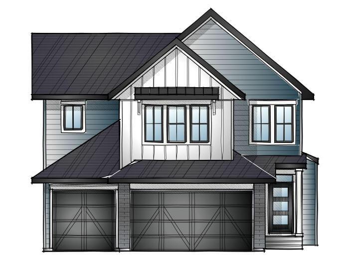 Addison - Farmhouse S1 Elevation - 2,785 sqft, 3 Bedroom, 2.5 Bathroom - Cardel Homes Calgary