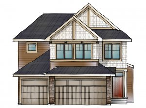 Addison - Shingle S1 Elevation - 2,785 sqft, 3 Bedroom, 2.5 Bathroom - Cardel Homes Calgary
