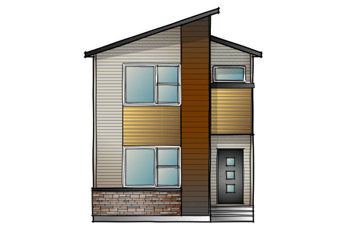 MENSA2-Eichler-F1 Elevation - 1,871 sqft, 4 Bedroom, 3 Bathroom - Cardel Homes Calgary