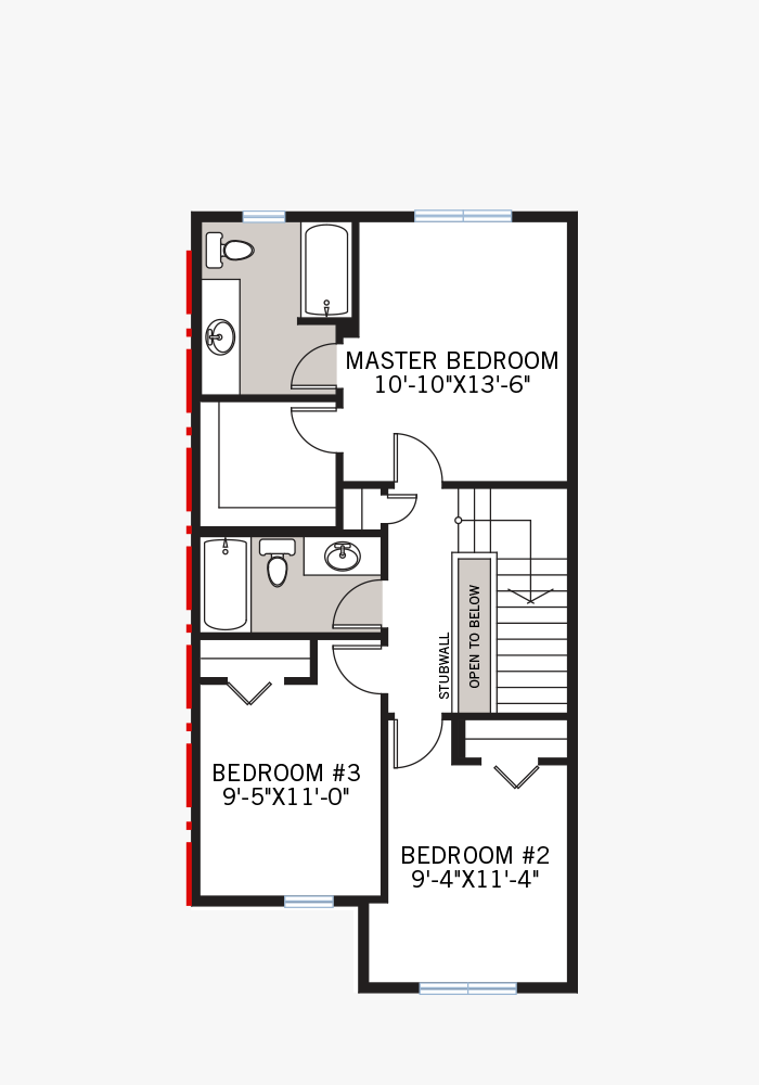 The Indigo 1 home upper floor quick possession in Savanna, located at 9084 52 Street NE Calgary Built By Cardel Homes