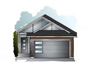 Hudson - Urban Craftsman F1 Elevation - 1,234 sqft, 3 Bedroom, 2.5 Bathroom - Cardel Homes Calgary