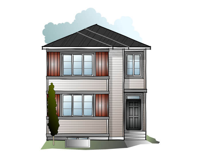 EVO 4 - CB-Prairie C2 Elevation - 1,960 sqft, 3 Bedroom, 2.5 Bathroom - Cardel Homes Calgary