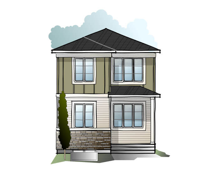 EVO 3 - CB-Prairie C2 Elevation - 1,608 sqft, 3 Bedroom, 2.5 Bathroom - Cardel Homes Calgary