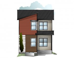 EVO 3 - Eichler F2 Elevation - 1,608 sqft, 3 Bedroom, 2.5 Bathroom - Cardel Homes Calgary