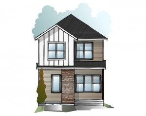 EVO 3 - Traditional Farmhouse F3 Elevation - 1,608 sqft, 3 Bedroom, 2.5 Bathroom - Cardel Homes Calgary