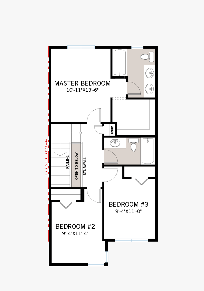 The Indigo 1 home upper floor quick possession in Walden, located at 37 WALCREST GATE SE Calgary Built By Cardel Homes