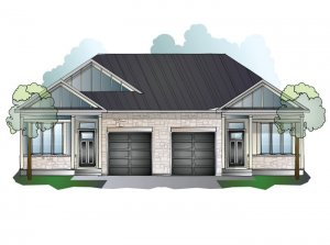 Bryant MC - Bungalow Semi Elev. A Elevation - 1,293 sqft, 2 Bedroom, 2 Bathroom - Cardel Homes Ottawa