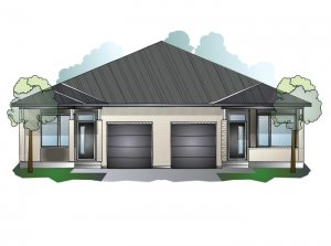 Bryant MC - Bungalow Semi Elev. B Elevation - 1,293 sqft, 2 Bedroom, 2 Bathroom - Cardel Homes Ottawa