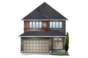SUTTON BS - Traditional A2 Elevation - 2,366 sqft, 4 Bedroom, 2.5 Bathroom - Cardel Homes Ottawa