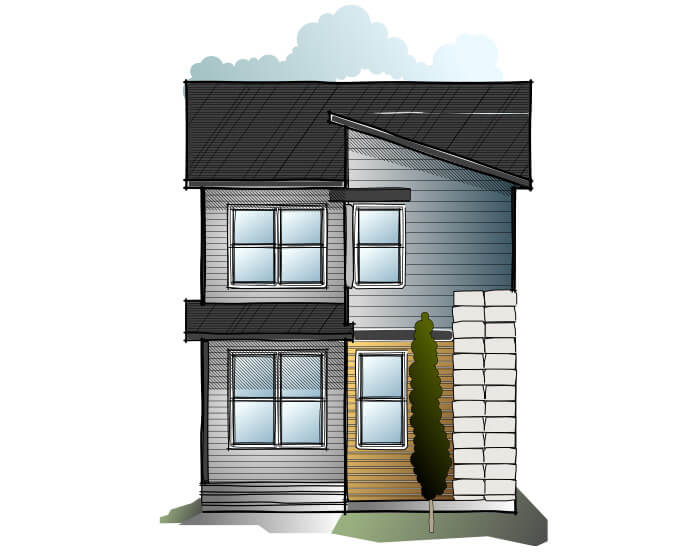 Indigo 1 SF - Craftsman F2 Elevation - 1,525 sqft, 3 Bedroom, 2.5 Bathroom - Cardel Homes Calgary