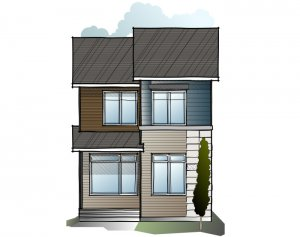 Indigo 1 SF - Eichler F3 Elevation - 1,525 sqft, 3 Bedroom, 2.5 Bathroom - Cardel Homes Calgary