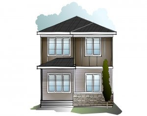 Indigo 1 SF - Modern Prairie F1 Elevation - 1,525 sqft, 3 Bedroom, 2.5 Bathroom - Cardel Homes Calgary
