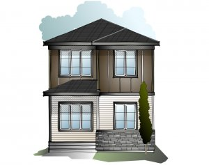 Indigo 2 SF - Modern Prairie F1 Elevation - 1,534 sqft, 3 Bedroom, 2.5 Bathroom - Cardel Homes Calgary