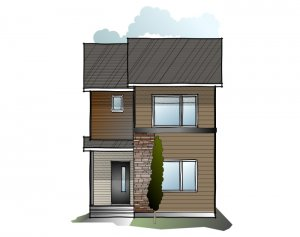 Soho 1 SF - Modern Prairie F1 Elevation - 1,233 sqft, 3 Bedroom, 2.5 Bathroom - Cardel Homes Calgary