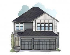 Grafton - Shingle S1 Elevation - 2,408 sqft, 4 Bedroom, 3.5 Bathroom - Cardel Homes Calgary