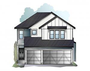 Grafton - Farmhouse S4 Elevation - 2,408 sqft, 4 Bedroom, 3.5 Bathroom - Cardel Homes Calgary