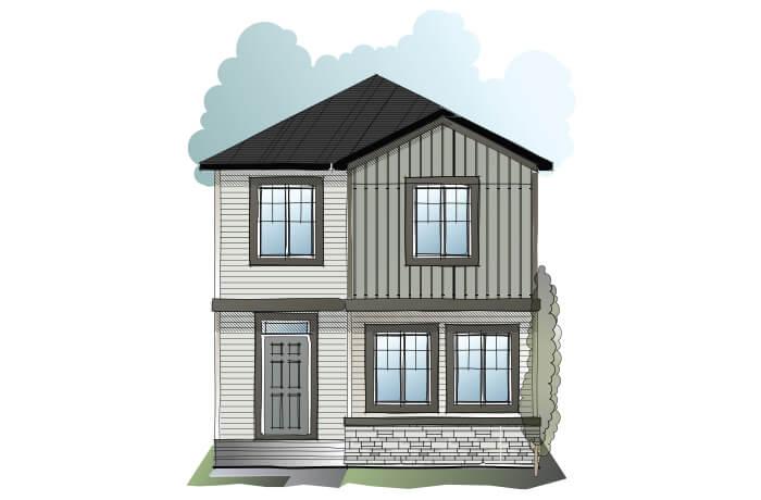 Cole CBR - Craftsman C1 Elevation - 1,508 sqft, 3 Bedroom, 2.5 Bathroom - Cardel Homes Calgary
