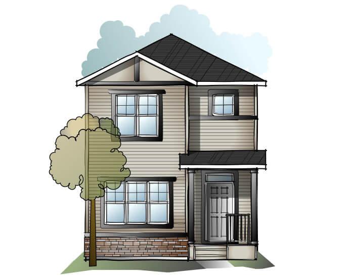 Soho 4 SF - Crafstman C1 Elevation - 1,309 sqft, 3 Bedroom, 2.5 Bathroom - Cardel Homes Calgary