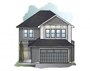 Grafton 2 - Shingle S1 Elevation - 2,300 sqft, 3 Bedroom, 2.5 Bathroom - Cardel Homes Calgary