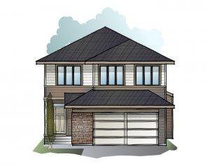 Grafton 2 - Prairie S3 Elevation - 2,300 sqft, 3 Bedroom, 2.5 Bathroom - Cardel Homes Calgary