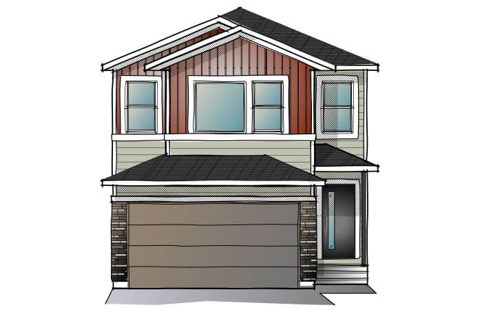 New Calgary Single Family Home Quick Possession Evo 1 in Savanna, located at 100 Savanna Lane NE Built By Cardel Homes