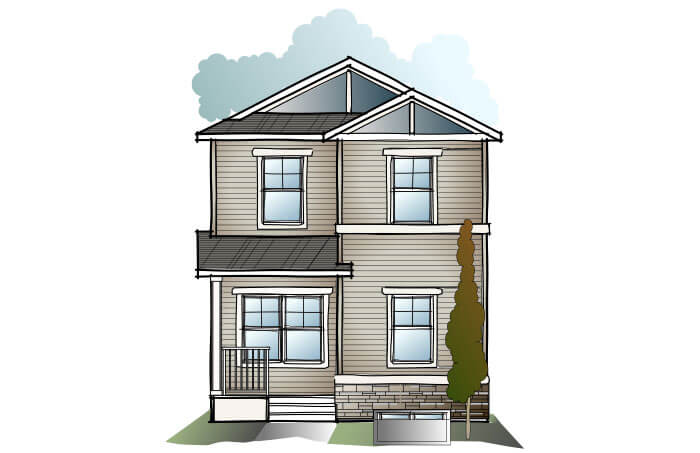 New Calgary Single Family Home Quick Possession Indigo 2 in Cornerbrook, located at 32 Cornergate Place NE  Built By Cardel Homes