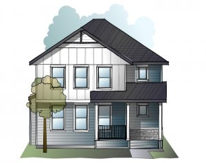Hillshire - Farmhouse S4 Elevation - 2,105 sqft, 4 Bedroom, 3.5 Bathroom - Cardel Homes Calgary