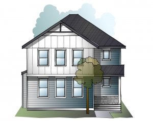 Hillshire - Farmhouse S4 with Porch Elevation - 2,105 sqft, 4 Bedroom, 3.5 Bathroom - Cardel Homes Calgary