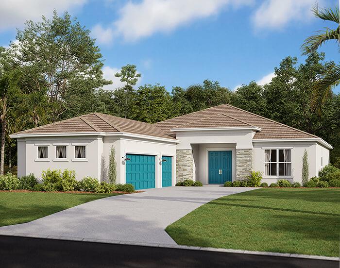 Asher - Coastal Modern B Elevation - 2,300 sqft, 3 Bedroom, 3 Bathroom - Cardel Homes Tampa