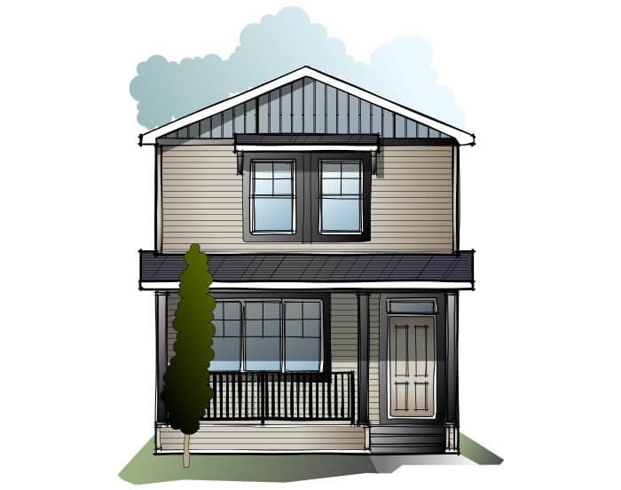 Indigo 3 - Craftsman C1 Elevation - 1,412 sqft, 3 Bedroom, 2.5 Bathroom - Cardel Homes Calgary