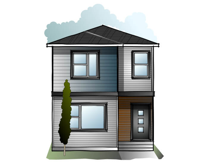Indigo 3 - Urban Prairie F1 Elevation - 1,412 sqft, 3 Bedroom, 2.5 Bathroom - Cardel Homes Calgary