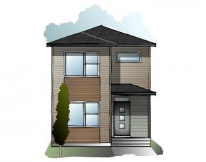 Mensa 3 - Urban Prairie F1 Elevation - 1,752 sqft, 4 Bedroom, 3 Bathroom - Cardel Homes Calgary