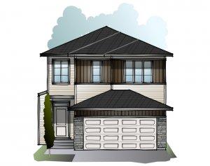 Modena - Prairie C2 Elevation - 2,662 sqft, 5 Bedroom, 4 Bathroom - Cardel Homes Calgary